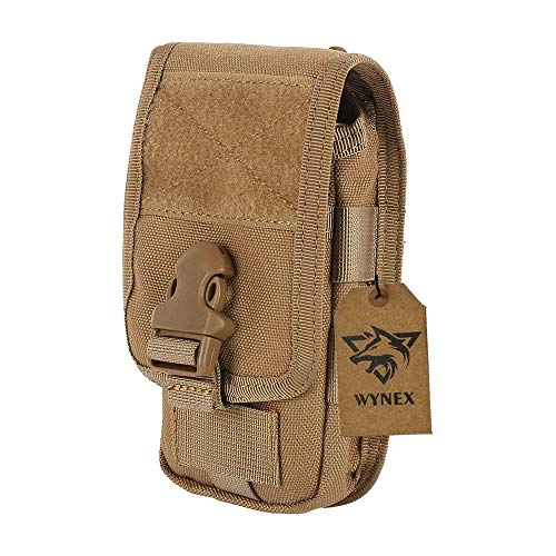 Wynex Smartphone Molle Pouch, Smartphone Holster,Tactical Accessories Small Gadget Gear Bag EMT EDC Pouches Modular Army Utility Pocket Waterproof Suit for Tactical Belt 1000D Nylon (Khaki)