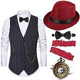 1920s Costume Accessories for Men - Gatsby Fedora Hat,Gangster Vest,Vintage...