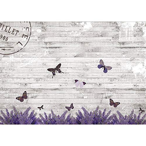 Vlies Fototapete 208x146cm PREMIUM PLUS Wand Foto Tapete Wand Bild Vliestapete - Holz Tapete Holzwand Holzoptik Holz Lavendel Schmetterling Natur grau - no. 1994