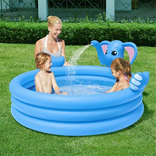AnQna Blau Kid Tragbare Pool Sicherheit Elefant-Form PVC aufblasbare Planschbecken Outdoor-Aktivitäten Sommer-Wasser-Pool 152 * 152 * 74CM