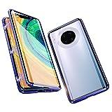 Jonwelsy Funda para Huawei Mate 30 Pro (6,53 Pulgada), 360 Grados Delantera y Trasera de Transparente Vidrio Templado Case Cover, de Adsorción Magnética Metal Bumper Cubierta para Mate 30 Pro (Azul)