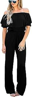 LookbookStore Women Off Shoulder High Waist Long Wide Leg Pants Jumpsuit Romper