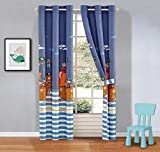 Kids Zone Home Linen 2 Panel Curtain Set with Grommet for Boys Girls Teens Bedroom Multicolor Set Pirates Ship Sea Adventure Blue White Brown New