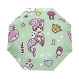 Kawaii De Dibujos Animados Sirena Femenina Paraguas Plegable con Apertura y Cierre Automático Antiviento Protección UV Ligero Viajes Paraguas paraPlaya Mujeres Niños Niñas