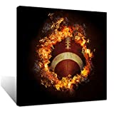 Biuteawal Sports Canvas Picture American Football with Fire Flame Poster Painting Prints Modern Soccer Canvas Artwork for Home Living Room Boys Bedroom Wall Decor Framed Ready to Hang