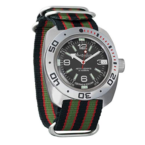 Vostok Amphibian Scuba Dude Automatic Mens Wristwatch Self-Winding Military Diver Amphibia Ministry Case Wrist Watch #710640 (Multicolor)