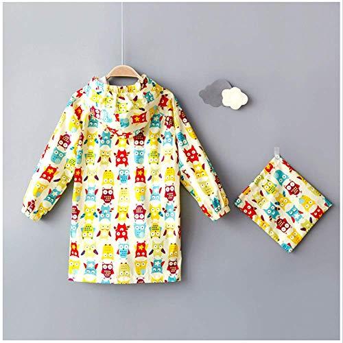 Guyuan Poncho Hibou bébé Fille imperméable garçon Fille Imprimer (Color : Yellow, Size : L)