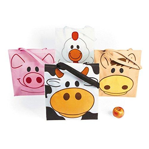 Large Farm Animal Tote Bags (12 pc)