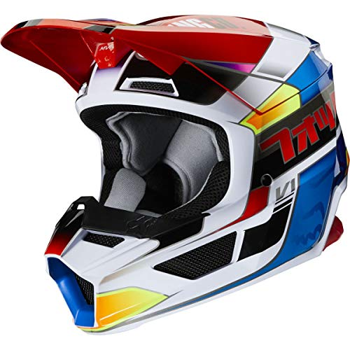 Fox Racing Yorr Youth V1 Off-Road Motorcycle Helmet - Blue/Red/Large