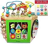 EasY FoxY ToY Activity Center; Grosser Motorikwürfel Spielzeug aus Holz für Kinder; Holzspielzeug Motorik für Jungen Mädchen, Nachhaltiges Geschenk zum Lernen
