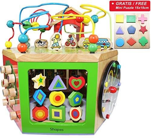 EasY FoxY ToY Activity Center Baby; Grosser Motorikwürfel Spielzeug aus Holz für Kinder ab 1 2 Jahre; Holzspielzeug Motorik für Jungen Mädchen, Nachhaltiges Geschenk zum Lernen