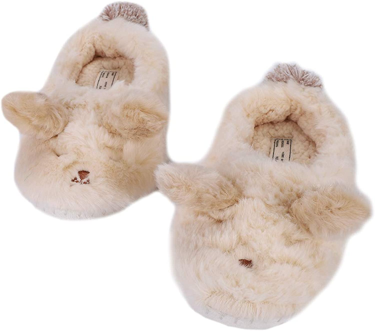QCHOMEE Women's Fuzzy Soft & Warm Comfort Slippers Cartoon Bear Coral Fleece Memory Foam Plush Lining Cotton shoes Booties Cute Animal Slipper Home Flip Flop