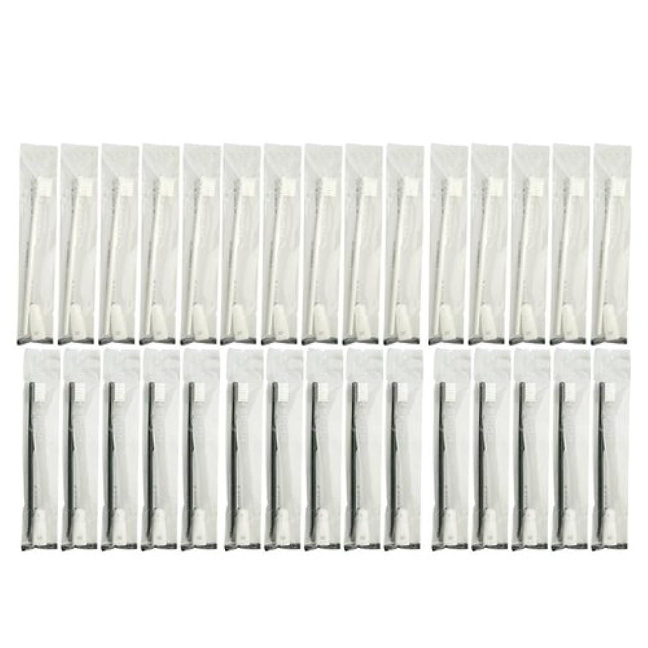 日食認識科学的業務用 使い捨て歯ブラシ チューブ歯磨き粉(3g)付き アソート 30本 (ブラック15本/ホワイト15本)セット│ホテルアメニティ 個包装タイプ