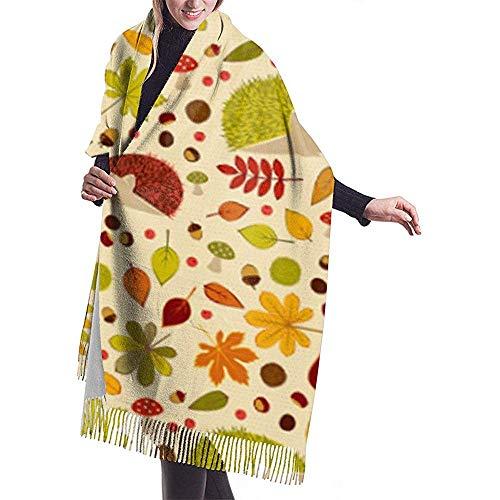 Igel Kastanien Thanksgiving Womens Schal große weiche seidige Pashmina Cashmere Schal Wrap