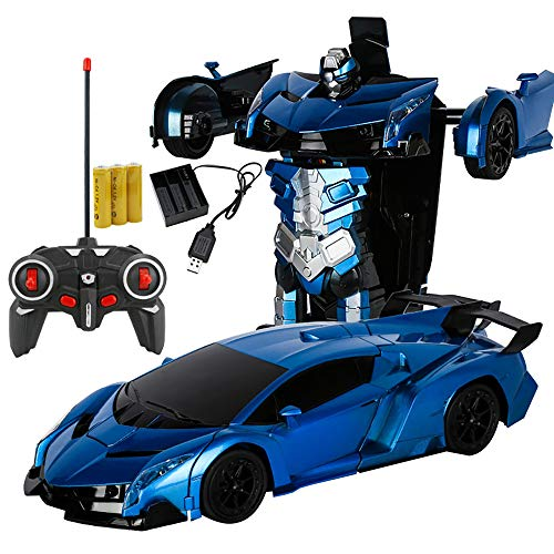 Xplanet RC Car for Kids Transform Car Robot Toy, One-Button Deformation Car Model Toy 1:18 Transformation Remote Control Vehicle for Children Perfect for Birthday Gift