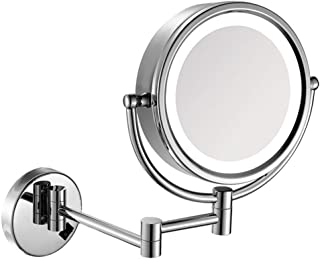 مرايا مكياج تثبت على الحائط، مرآة منضدة لمنضدة الحمام مع تكبير، مع قابس كهربائي
