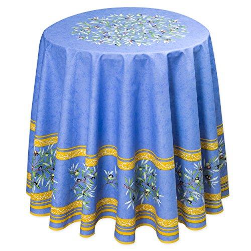 Abwaschbare Provence-Tischdecke rund ca. 180 cm Maussane bleu, Enduit, Acrylbeschichtet