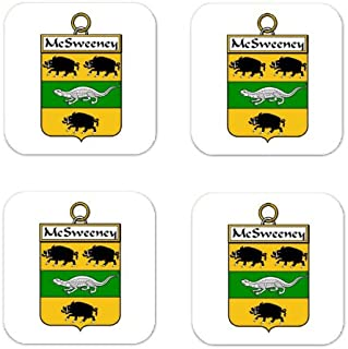 MyHeritageWear.com Mcsweeney Or Sweeney Family Crest Square Coasters Coat of Arms Coasters - Set of 4