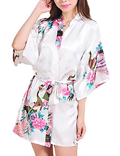 HX fashion Pijamas Mujer Kimono Corto Verano Elegante Vintage Sencillos Diario Flores Estampado Albornoz Batas Camison V Cuello Con Cinturón (Color : Blanco, Size : S)