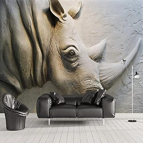 Photo Wallpaper 3D Stereo Relief Rhino Murals Living Room TV Sofa Bedroom Background Wall Cloth Art Home Decor200(L) x140(H) cm