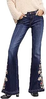 Sale Bootcut Jeans Women,NEWONESUN Winter Casual Embroidery Vintage Denim Pants Trousers Flares
