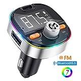 Transmisor FM Bluetooth V5.0, Adaptador de Radio de Coche 2 USB Puertos, Carga rápida PD3.0 con micrófono y Altavoz, Siri Google, Efectos de bajo, función de Memoria, con 7 Modos de luz de Colores