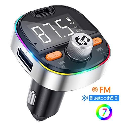 Transmisor FM Bluetooth V5.0, Adaptador de Radio de Coche 2 USB Puertos, Carga Rápido...