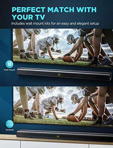 Soundbar, BOMAKER 2.0 HDMI ARC 37 Inch Sound Bar with Built-in Subwoofer, 110dB, DSP and 3D Surround Sound, Bluetooth 5.0, 6 EQ Modes, Remote Control, HDMI, Optical, AUX, USB