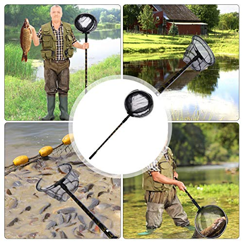 BESPORTBLE Fishing Net Fish Landing Net Aluminum Collapsible Telescopic Pole Handle Nylon Material Mesh Fish Catching Net for Outdoors Camping 1.7m