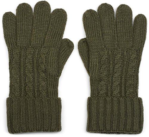 styleBREAKER Damen Handschuhe mit Zopfmuster und doppeltem Bund, warme Strickhandschuhe, Fingerhandschuhe 09010009, Farbe:Oliv