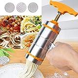 CHERUISI Artilugio Cocina 3 Moldes hogar manual de acero inoxidable Pequeño presionar Estilo asidero máquina de los tallarines (naranja) (Color : Verde)