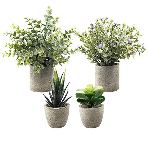 4 Stücke Topfpflanze Künstlich, Künstliche Sukkulenten Pflanze, kunstblumen Lavendel, Künstliche Eukalyptus Pflanze für Heim Büro Bad Küche und Outdoor Dekoration (A2)