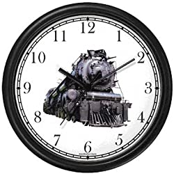 WatchBuddy Steam Engine or Locomotive Train No.1 Wall Clock Timepieces (Black Frame)