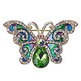 Fliyeong - Broche de mariposa de cristal para mujer, diseño vintage pequeño
