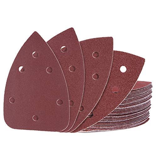 Schleifpapier 40 Stück, METERK 60/80/120/180 Körnung, 140 x 100 mm, jeweils x10, abgestimmt auf METERK Delta Schleifer 125 W, zum Schleifen/Polieren/Rostentfernung