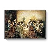 La Última Cena Leonardo da Vinci lienzo famoso Jesús impresiones religiosas Réplicas de decoración de sala de estar pinturas murales 30x45cm sin marco