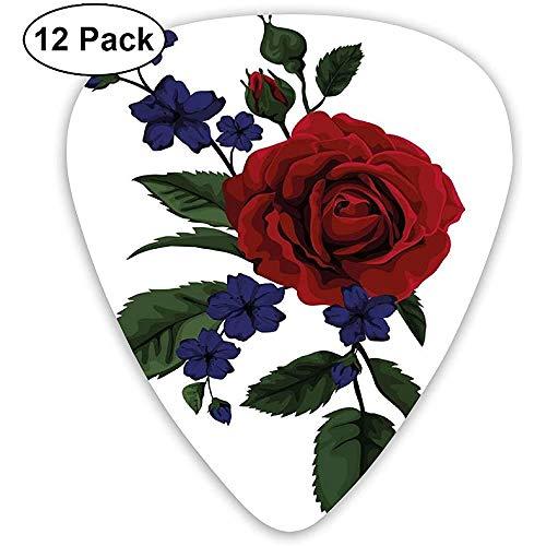 Guitar Picks 12er-Pack, Valentines Rosebud mit kleinen Blüten Love Passion Theme Artful
