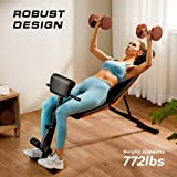 PERLECARE Weight Bench Adjustable, All-in-One Durable Gym Bench for Full Body Workout, Weight Up to 350kg, Foldable Exercise Bench with 7 Back Positions, 7 Heights, Two Exercise Band, Upgrade Version