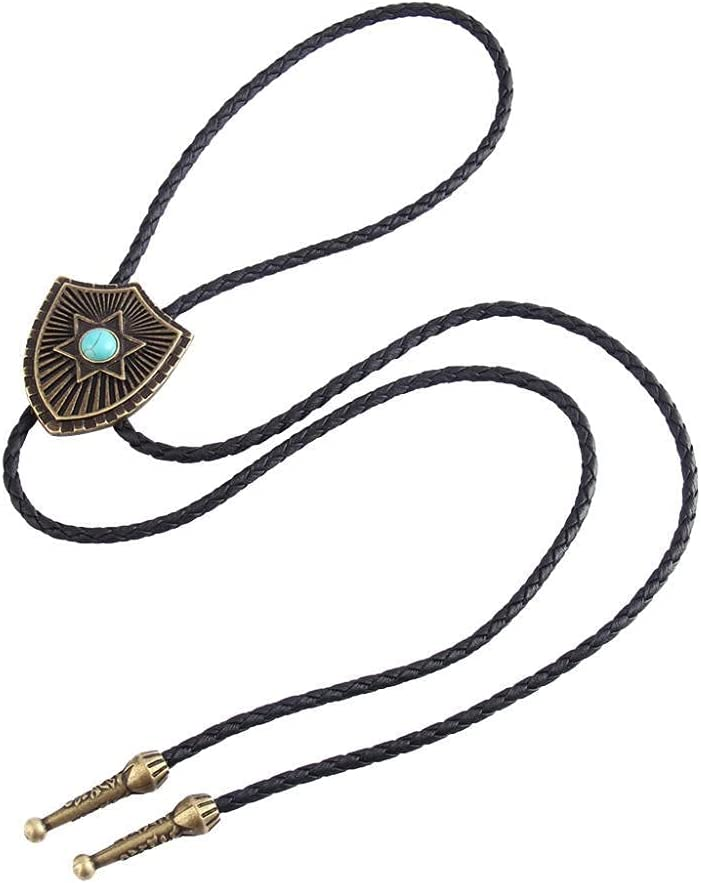 Lztly bolo tie Turquoise Bolo tie for Men and Women Knitted Leather Cord 104 cm Long Sweater Shirt Accessories Cowboy tie (Color : A, Size : 1)