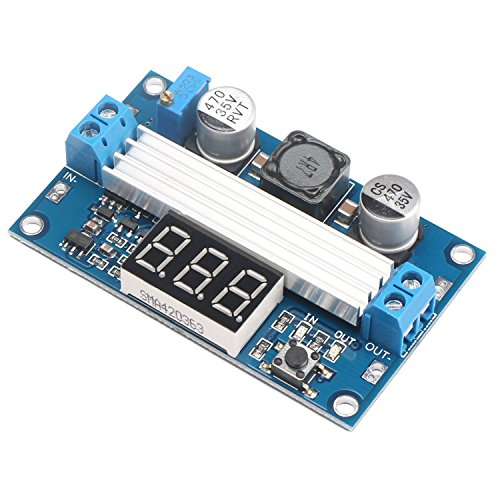 DROK Micro Electric DC/DC High Efficiency Boost Converter Step-up Voltage Transformer 3-34V to 4-35V 6A Volt Regulator Controller with Red LED Voltmeter Adjustable Output Volt Power Supply Module