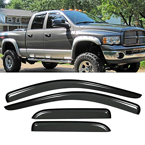 Riseking Outside Mount Style Compatible with 02-08 Ram 1500 03-09 2500 3500 Quad Crew Cab 4x RKP-94623 Dark TapEOnDoor Window Trim Sun Rain Guard Vent Shade Side Window Wind Deflectors Window Visors