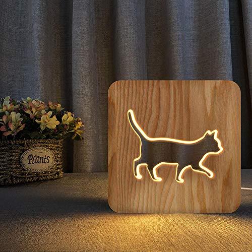 Luz nocturna de madera 3D, luz nocturna creativa para gatos que se puede grabar a través de USB, lámpara de mesa blanca cálida, lámpara de noche, regalo de lámpara de guardería