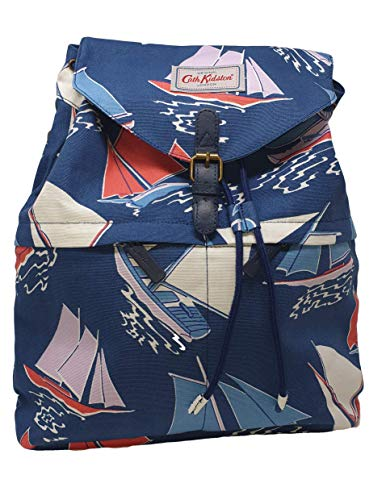 Cath Kidston 'Whitby Water' Canvas Buckle Drawstring Rucksack/Backpack in Navy