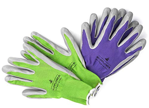 WILDFLOWER Tools Gardening Gloves for Women and Men - Nitrile Coating for Protection (Small, Purple Pair/Green Pair with White Cuff Hem)