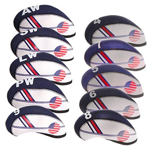 Sharplace Cubierta para La Cabeza del Palo de Golf de Nailon con La Bandera de Los EE. UU, Cuña, Cubierta Protectora de Hierro (Paquete de 10)