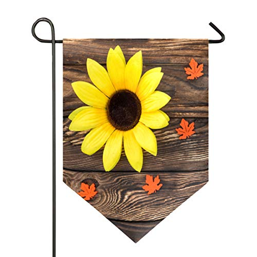 AMONKA Hermosa bandera de jardín con textura de madera marrón de girasol de doble cara poliéster para decoración de casa al aire libre de 71 x 101 cm