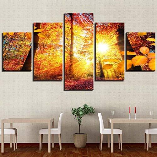 AHJJK Impresión en Lienzo de 5 Paneles Paesaggio autunnale Giallo boschi Luce solare Impresa Cuadros Lienzos Decoración de la Pared de Arte Moderno, Solo Lienzo, sin Marco XXL(200x100cm)