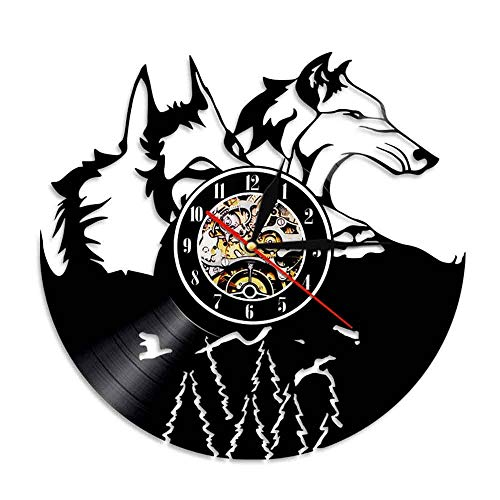 WJHXYD A Pair of Wolf Head Wall Clock Forest Wolf Portrait Vinyl Record Clock
