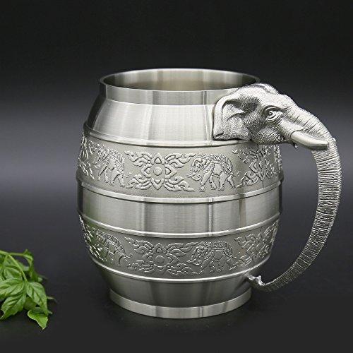 Oosterse tinnen - tinnen bier mok Pure Tin 97% loodvrije tinnen BME hand gesneden mooie reliëf handgemaakte in Thailand