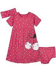 فستان جيربر للفتيات الرضع مكون من 3 قطع، طقم غطاء حفاض وعصابة رأس من مجموعة شيري دوتس، 5T
